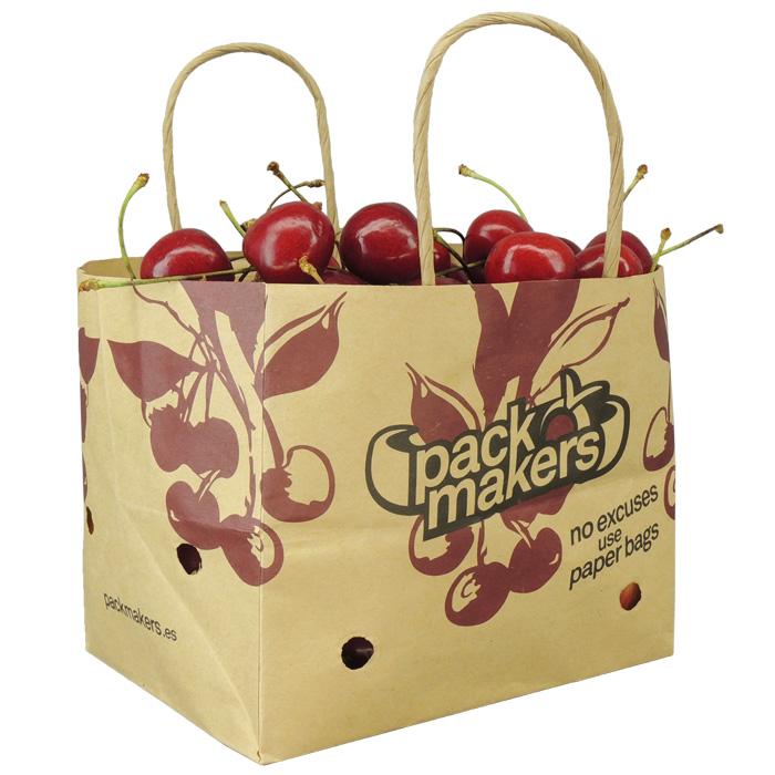 Wet strength paper bag with ventilation for bone fruit
